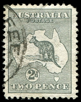 Lot 92:2d Grey - BW #5(2)f [2L34] Scratch from value circle through map to T of POSTAGE, rounded TRC, Cat $80.