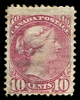 Lot 3816:1870-91 Small Heads Ottawa & Montreal Printings Perf 12 SG #89 10c lilac-pink, Cat £50.