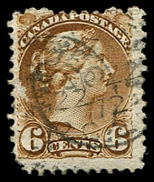 Lot 3815:1870-91 Small Heads Ottawa & Montreal Printings Perf 12 SG #86 6c yellowish brown, rounded BLC, Cat £22.