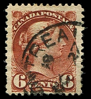 Lot 3818:1889-97 Small Heads Ottawa Printing Thin Poor Quality Paper SG #107 6c deep chestnut, Cat £17.