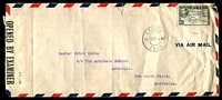 Lot 22025:1944 (Feb 11) use of 6d on long air cover ( a few faults) to NSW, censor label '[X]