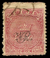 Lot 3914:1876-77 'VR' Underprint on Laid Paper SG #33a 6d carmine-rose, Cat £42, fiscal cancel.