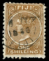Lot 4018:1881 1/- Deep Brown Perf 10 SG #64a Cat £32.