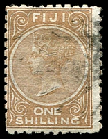 Lot 3711:1881 1/- Pale Brown Perf 10 SG #64 pulled perf, Cat £29.