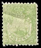 Lot 3713:1891-1902 New Designs Perf 11x10 SG #83 2d green, gum bend, Cat £28.