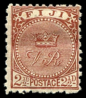 Lot 4021:1891-1902 New Designs Perf 11x10 SG #84 2½d chocolate, crease, Cat £28.