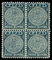 Lot 3919:1891-1902 New Designs Perf 11x11¾ SG #99 ½d greenish slate block of 4, 2 units MUH.