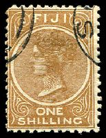 Lot 3712:1899 1/- Pale Brown Perf 11x11¾ SG #67 Cat £12, CTO.