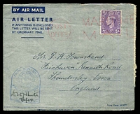 "Lot 4090:1944 Air Letter (Nov 7) to England headed ""HMS Hull"", 3d pale violet cancelled with fine red 'POST/OFFICE - MARITIME/MAIL' machine cancel."