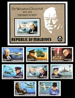 Lot 4105:1974 Churchill SG #535-43 complete set & M/S, Cat £33. (9)