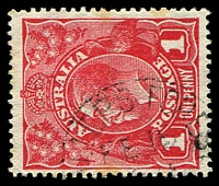 Lot 910:Miller's Forest: - light clear framed '[M]ILLERS FOREST/FE18/[?]/[N.S.W]' on 1d red KGV.  PO 1/1/1859; closed 30/9/1971.