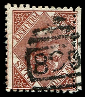 Lot 5910:890: 1st type BN on 4d brown DLR.  Allocated to Edgecliff-PO 16/7/1877.