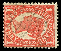 Lot 6901:149: rays on 1d 4-Corners. [Rated 3R]  Allocated to Cloncurry-PO 1/6/1871.
