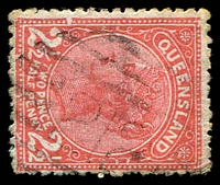 Lot 1449:212: BN on 2½d 2-Corners. [Rated R]  Allocated to Haughton-PO 12/1/1876; closed 19/11/1881; Re-allocated to Ravenswood Junction PO 9/11/1881; renamed Mingela PO 13/3/1931.