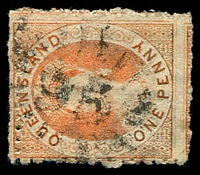 Lot 1156:95: rays (N2a - 6mm numbers) on 1866 1d Chalon P13. [Rated 3R]  Allocated to Brisbane-PO c.-/4/1830.