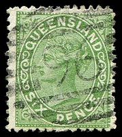 Lot 1430:96: BN (figures 8½mm high) on 6d 1st Sideface. [Rated R]  Allocated to Maryborough-PO 18/1/1849.