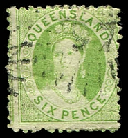 Lot 1059:97: rays on 1876 6d Chalon. [Rated 3R]  Allocated to Carrangarra-PO 1/1/1866; renamed Tambo PO c.1868.