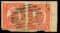 Lot 7842:49: BN with horizontal bars of Forest Hill on 1d 4-Corners x2 on piece. [Rated 2R]