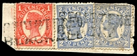 Lot 9346:Blackall: 'REGISTER/BLACKALL' on 1d & 2d 4-Corners x2.  Renamed from Barcoo PO 31/12/1868.