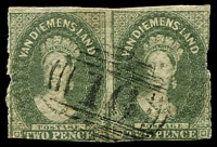 Lot 1350:1857-69 Imperf Chalon Wmk Double-Lined Numeral SG #34 2d slate-green pair, 2/3-margins, vertical separations a bit rough, retail $350, cancelled with '16' of Carlton.