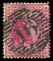 Lot 3515:16: damaged strike on 1890 1d red.  Allocated to York-PO 16/6/1840.