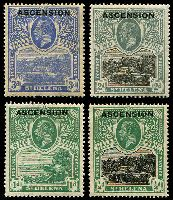 Lot 16605:1922 'ASCENSION' On St. Helena SG #1,2,4,5 ½d, 1d, 2d & 3d, minor faults, Cat £44. (4)