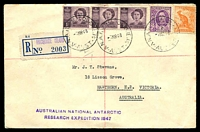 Lot 16457 [1 of 2]:Macquarie Island: 'A.N.A.R.E. MACQUARIE.IS/7MR48/AUST' on ½d, 1d x3 & 2d, with straight-line 'AUSTRALIAN NATIONAL ANTARCTIC/RESEARCH EXPEDITION 1947' (A1) in purple & provisional blue registration label.