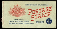 Lot 3776:1957-59 QEII 4/- BW #B60B 4d claret with British Commonwealth on inside front cover.