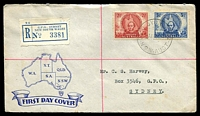 Lot 733 [1 of 2]:Smyth 1946 Mitchell 2½d & 3½d on registered illustrated cover from Sydney.