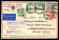 Lot 639:1931 Australia - England AAMC #188 use of 1/- Roo, 6d KSmith, 2d Air and 2d KSmith on 'ALL THE WAY' cover with handstamped cachet on face. On arrival redirected to Paris and a GB ½d applied to face for redirection fee.