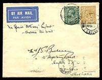 Lot 1014 [1 of 2]:1932 England - Australia AAMC #245 plain cover for delayed Christmas delivery flight backstamped Melbourne 22JA 32, contents included.