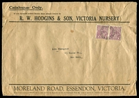 Lot 5232:1924 (Apr 22) use of 1d violet KGV pair on cover for RW Hodgins & Son Victoria Nursery Catalogue, from Essendon to Box Hill, flap unsealed for printed matter rate. Flap partly separated and tear, typical condition for these overweight envelopes.