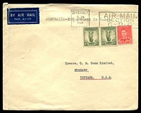 Lot 5277 [1 of 2]:1938 (Dec 9) use of 2d KGVI & 1/- Lyre pair on cover to USA, tear at top. [2/2d was the rate for Australia to England by air, England USA by sea and air within the USA.]