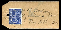 Lot 853:1945 use of 3½d Gloucester on local parcel tag.