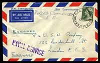 "Lot 5325:1953 (Nov 10) use of 3d green QEII on Forces Concession mail from Naval PO Balmoral to London, endorsed ""H.M.SUBMARINES""."