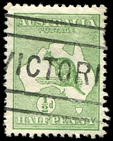 Lot 124:½d Green - BW #1(2)e [2L12] ROSTAGE, Cat $50.