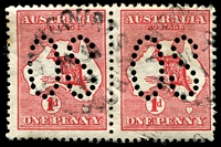 Lot 741:1d Red Die I [BR33] Broken shading line above T of AUST - State II broken base of 2nd N of PENNY left unit of perf 'large 'OS' pair.