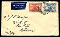 Lot 736 [1 of 2]:1934 Macarthur use of 2d Dark Hills & 3d on 1935 (Jan 1) air cover from Launceston to Melbourne. Unusual for mail to be cancelled on Jan 1.