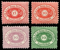 Lot 3663:1900 Reprints set of 4 on thin paper P9½.