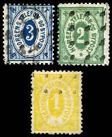 Lot 20648:Horsens Bypost: 1887 1ø yellow, 2ø green & 3ø blue. (5)