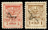 Lot 3418:Veile Bypost: 1887 1ø brown & 5ø red