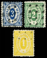 Lot 3672:Horsens Bypost: 1887 1ø yellow, 2ø green & 3ø blue. (5)