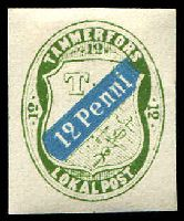 Lot 3479:Tammerfors Local Post: 1866 12p blue & green reprint?.