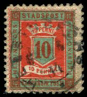 Lot 21183:Helsingfors Local Post: 1879 10p red & dark green P11½, cancelled with double-circle 'HELSINGORS/6 6/84/.' (B2).