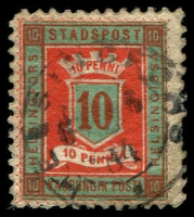 Lot 3739:Helsingfors Local Post: 1879 10p red & dark green P11½, cancelled with double-circle 'HELSINGORS/6 6/84/.' (B2).