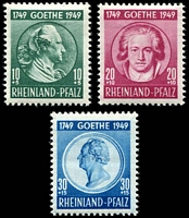 Lot 3631:1949 Goethe: Mi #46-8 set of 3, 10+5pf Type I, Cat €12 as hinged.