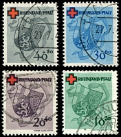 Lot 21762:1949 Red Cross Fund: Mi #42A-45A perfed set of 4, Cat €440.