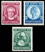 Lot 22680:1949 Goethe: Mi #44-6 set of 3, 10+5pf Type II, Cat €32.