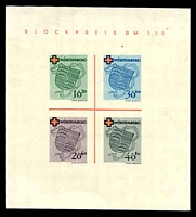 Lot 16988:1949 Red Coss: Mi #Block 1, imperf MS, MNG as issued, Cat €150.