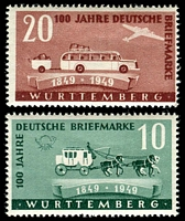 Lot 22681:1949 Stamp Centenary: Mi #49-50 pair, 20pf Type I.